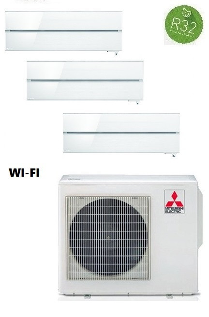 MITSUBISHI ELECTRIC KIT TRIAL KIRIGAMINE STYLE MXZ-3F68VF + 2 x MSZ-LN25VGV/B/R + MSZ-LN35VGV/B/R INV. 9+9+12 - WI-FI - Gas R-32