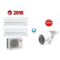 MITSUBISHI ELECTRIC KIT DUAL Serie PLUS MXZ-2F53VF + 2 x MSZ-AP25VG 9+9 (Gas R-32) + OMAGGIO CAMERA CS-CV310-A0-3B1WFR