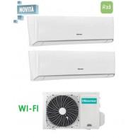 HISENSE CLIMATIZZATORE DUAL ENERGY 2AMW50U4RXA + TQ25XE0BG + TQ35XE0BG INVERTER P/C 9+12 WI-FI - Gas R-32