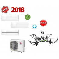 MITSUBISHI ELECTRIC KIT TRIAL KIRIGAMINE STYLE MXZ-3F68VF + 3 x MSZ-LN35VGV/B/R INV. 12+12+12 - WI-FI - Gas R-32 + OMAGGIO PF727006AA DRONE PARROT